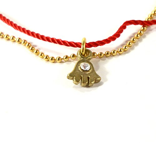 "7"" Threaded Red String Bracelet and Gold Ball Chain Combination and 24K Gold Plated Hamsa Charm Evil Eye Jewelry"