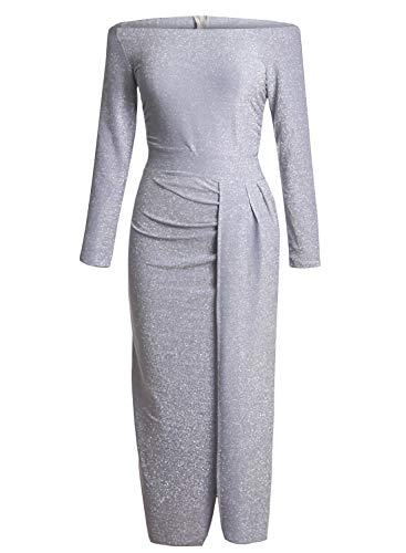 Happy Sailed Women Off The Shoulder 3/4 Sleeves Metallic Knit Ruched Split Elegant Formal Dress L Gray
