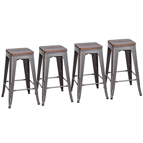 DeKea 24 Inch Low Back Black Bar Stools with Wooden Top Counter Height Metal Stool [Set of 4] for Kitchen Barstools, Gunmetal