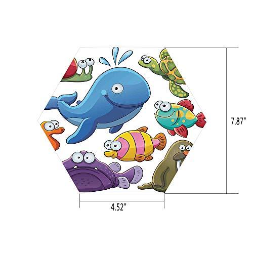 iPrint Hexagon Wall Sticker,Mural Decal,Whale,Group of Underwater Animals Sea Otter Slug Snail Summer Day Art Illustration,Blue Purple Green,for Home Decor 4.52x7.87 10 Pcs/Set