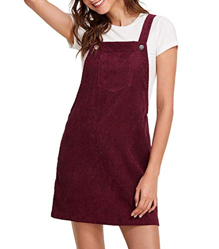 Women Suspender Dress A-Line Strap Corduroy Pinafore Mini Denim Overalls with Bib Pocket (X-Large, ()