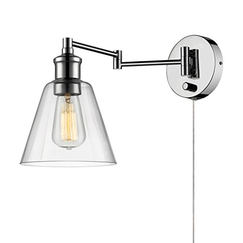 Globe Electric 65704 1-Light Plug-In or Hardwire Industrial Wall Sconce, Chrome