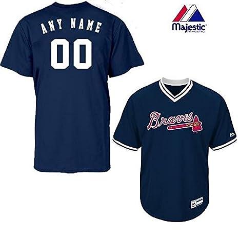 c44f66663 Amazon.com   New V-Neck Atlanta Braves CUSTOM (Name   on Back) or Blank  Back MLB On Field Cool-base Pro Length Full Athletic Cut Uniform Jersey    Sports   ...