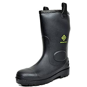 DREAM PAIRS Men's 0613W Water Proof Fur Interior Black Rubber Winter Snow Rain Boots