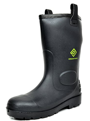 DREAM PAIRS Men's 0613W Water Proof Fur Interior Black Rubber Winter Snow Rain Boots 9 M US (Rain Winter Snow Boots)