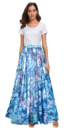 (Afibi Women Full/Ankle Length Blending Maxi Chiffon Long Skirt Beach Skirt (Medium, Design G(2)))