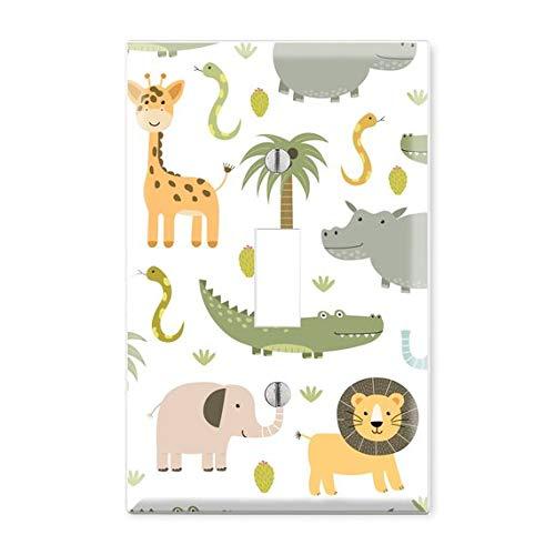 Safari Animals Light Switch Cover, Animals Light Switch Plate, Animal Plate Cover, Lion Elephant Tiger Nursery Light Switch, Animal Kids Room TF6
