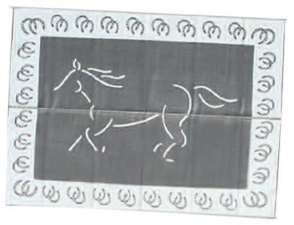 Patio Mats 084 9u0027 X 12u0027 Running Horse Black/Silver Reversible Patio Mat