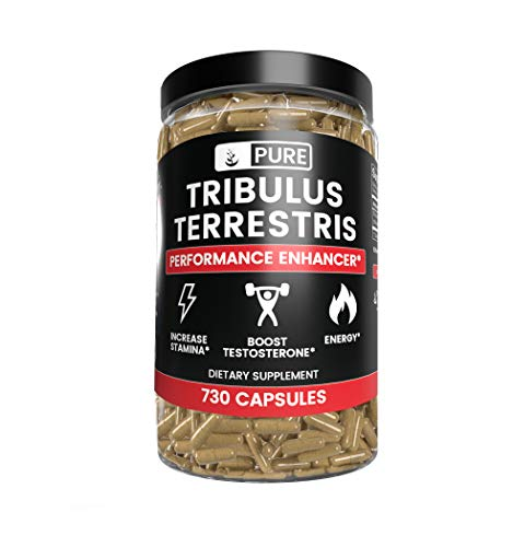 100% Pure Tribulus Terrestris, 1 Year Supply, 730 Capsules, No Stearate or Rice Filler, 45% Steroidal Saponins, USA-Made, Non-GMO, Gluten-Free with No Additives