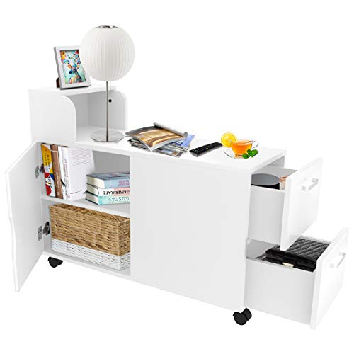 End Table, Modern Side Table Chair Side Table Beside Cabinet with Storage Shelf Bookshelf 2 Drawer for Living Room Bedroom Office with 5 Wheels