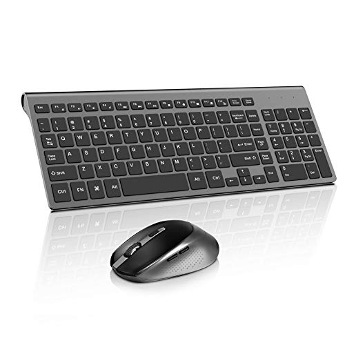 Wireless Keyboard Mouse, Compact Full Size Less Noisy Keyboard and Mouse,Sleek Design and High Precision 2400 DPI for PC,Desktop,Computer, Laptop, Windows XP/Vista/7/8/10 by JOYACCESS- Black and Gray