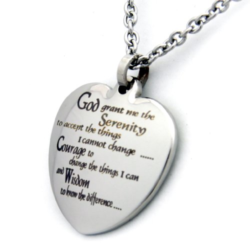 (Rush Industries Heart Shaped Serenity Prayer Pendant Necklace 18 Inch Chain - 12 Step Jewelry - Serenity Prayer Necklace)