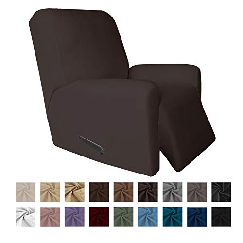 Easy-Going 4 Pieces Microfiber Stretch Recliner Slipcover - Spandex Soft Fitted Sofa Couch Cover, Washable Furniture Protector with Elastic Bottom for Kids,Pet (Recliner,Chocolate