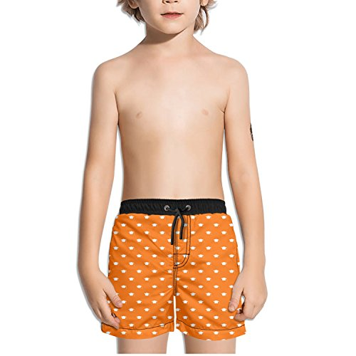 Graduation Cap Pattern Orange Toddler Little Boys Swim Trunks Quick Dry Water Beach Board Shorts Cool Sportwear with Pocket -