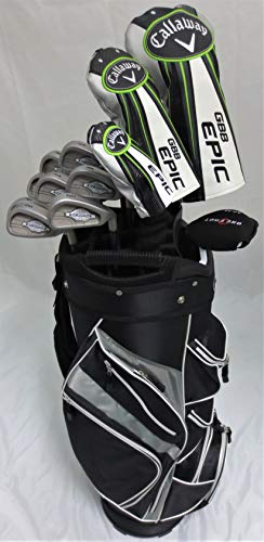 Callaway Mens Golf Set Driver, Wood, Hybrid, Irons, Putter Clubs Cart Bag Graphite Reg Flex