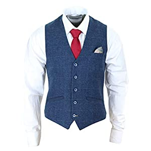 Mens Waistcoat Navy Blue Gilet Tweed Check 1920's Peaky Blinders Tailored Fit Vintage