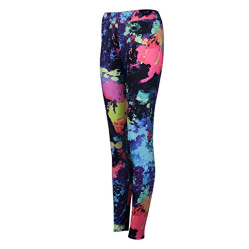 Pocciol Printed Yoga Leggings, Mid Waist Trousers Women Colorful Fitness Stretch Pants