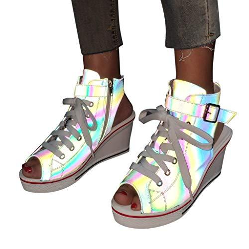 OutTop(TM) Women's Wedges Canvas Sneakers High Platform Pumps Illuminate Peep Toe Pump Lace-up Sandals Shoes (US:7.5, Multicolor)