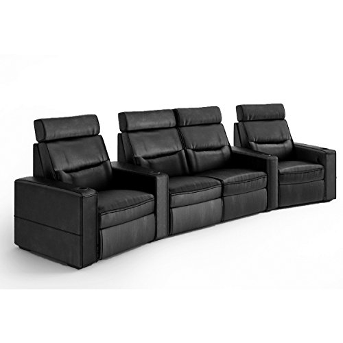 Salamander TC3 AV Basics 4-Seat with Loveseat Wedge Motorized Recliner Home Theater Seating (Black Bonded Leather)