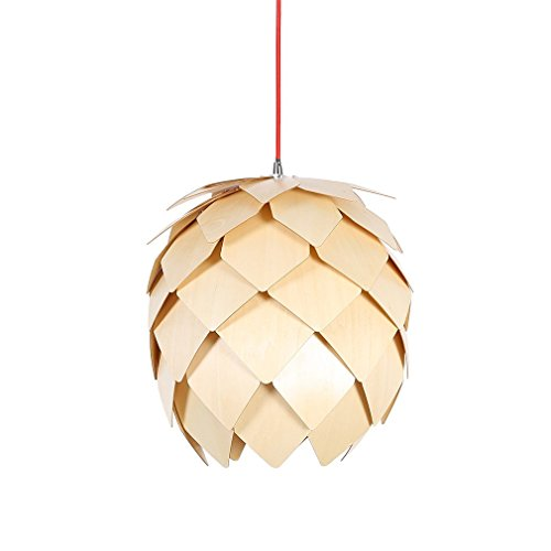 HROOME Rustic DIY Pine Cone Wooden Chandelier Ceiling Hanging Lamp Shades Art Decorative Pendant Lighting Fixtures Island for Dinning Living Room Kitchen Bedroom (Medium) (Fixture Cone Light)