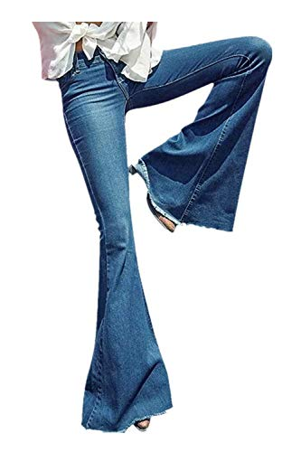 (GALMINT Women's Juniors Retro Bell Bottom Wide LGE High Waisted Slim Fit Stretch Flared Denim Jeans)