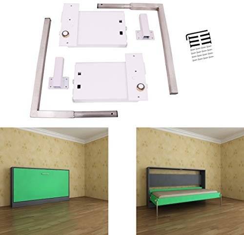 (ECLV Horizontal Murphy Wall Bed Springs Mechanism Hardware Kit for Full Size Queen Size,Twin Size,King Size Bed,Horizontal Wallbed Mounting,White)