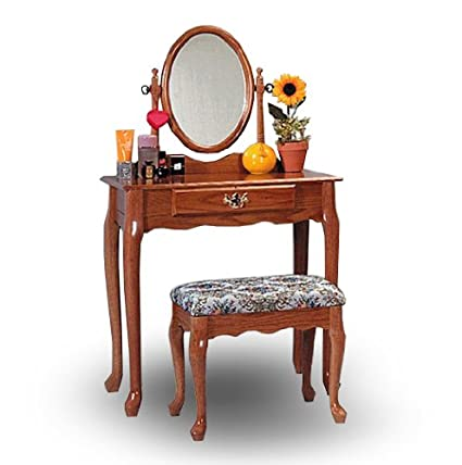 Beau Oak Wood Vanity With Table U0026 Bench Set