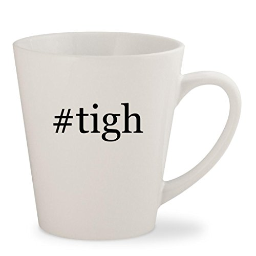 #tigh - White Hashtag 12oz Ceramic Latte Mug Cup