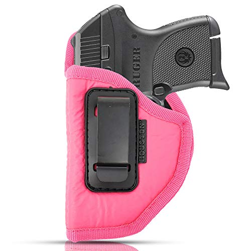IWB Woman Pink Gun Holster - Houston - ECO Leather Concealed Carry Soft | Suede Interior for Protection Fits: S&W Bodyguard, Taurus TCP, Sig P238, Jimenez JA, PPK380, Ruger LCP II (Left) (CHPK-71-LH) (380 Pistol Pink Hand Grips)