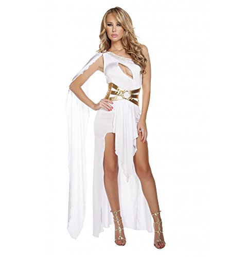 Roma Costume Women's 2 Piece Grecian Babe, White/Gold, Small/Medium Babe Sexy Adult Costume