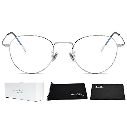SamuRita Ultra Thin Classic Metal Round Oval Glasses Full Rim Clear Lens Sunglasses Eyeglasses Frame(Silver Frame) by SamuRita