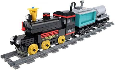 462PCS Classical Retro Train with Track,Vintage Steam Train Model Building Block
