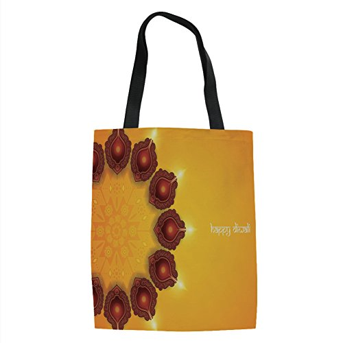 IPrint Diwali,Tribal Religious Festival Celebration Paisley Design Religious Festive Candles Print,Yellow Printed Women Shoulder Linen Tote Shopping Bag by IPrint