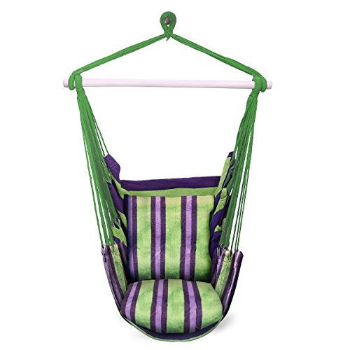 Sorbus Hanging Rope Hammock Chair Swing Seat for Any Indoor or Outdoor Spaces (Seat Hammock Hanging)