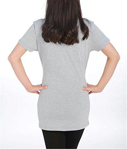Grey2 Rotondo Camicetta Bluse T Donna Stampate Collo Maglietta Manica Top Casual Premaman Incinta FONLONLON Corta Moda Shirt Maternity Fzxqx1wT