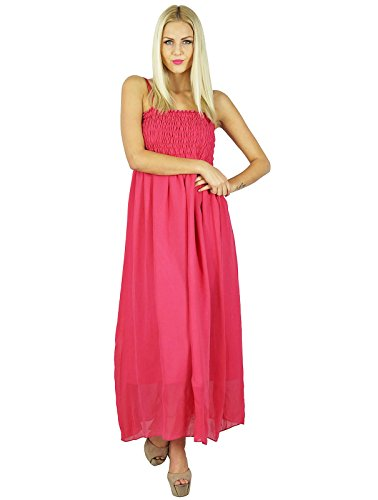Bimba Women Long Maxi Dress 2 Piece Georgette Flowy Smocked Gown (Piece Dress Two Georgette)