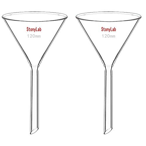 StonyLab 2-Pack Glass Heavy Wall Funnel Borosilicate Glass Funnel, 120mm Diameter, 120mm Stem Length