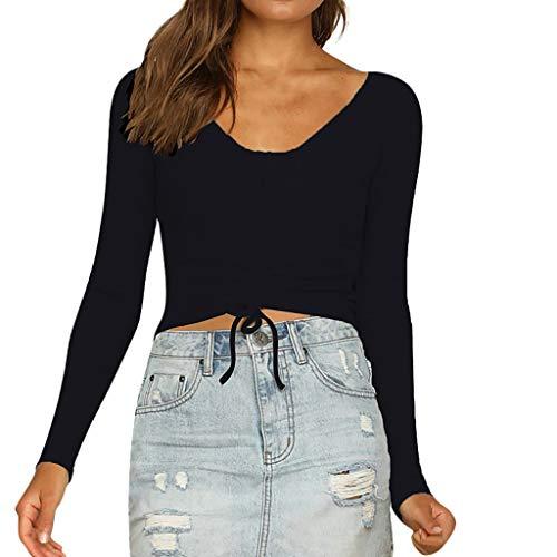 Toimothcn Women Sexy Stretch Drawsting Tops Long Sleeve V-Neck Crop T-Shirt Blouse (Black,M) ()