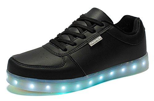 Ausom Uomini E Donne 7 Colori Usb Ricarica Scarpe Led Lampeggianti Sneakers Luce Incandescente Scarpe Piatte Per Il Tempo Libero Nere