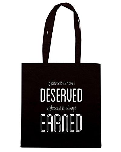 T-Shirtshock - Bolsa para la compra CIT0191 Robin Sharma Success Is Always Earned Negro