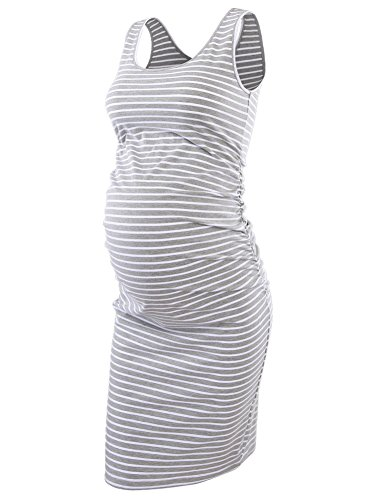 Pinkydot Women's Maternity Sleeveless Dresses Maternity Tank Dress Mama Scoop Neck Baby Shower Pregnancy Dress Grey White, Large (Scoop Skirt Pleat Neck)