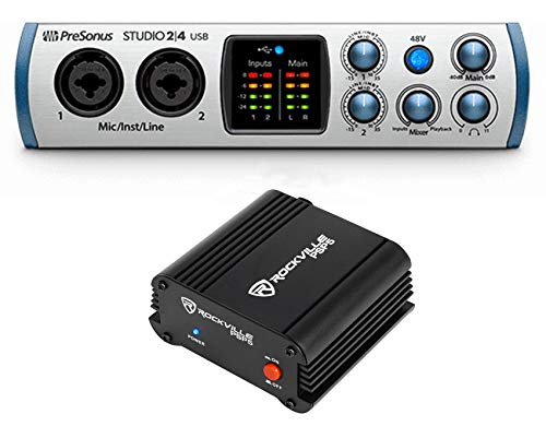 (PRESONUS Studio 24 2x2 USB 2.0 Audio Recording Interface + Phantom Power Supply)