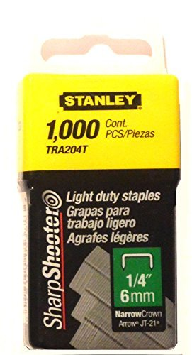 Stanley Tra204T 1/4 Inch Light Duty Narrow Crown Staples, Pack of 1000 (2 pack) by Stanley