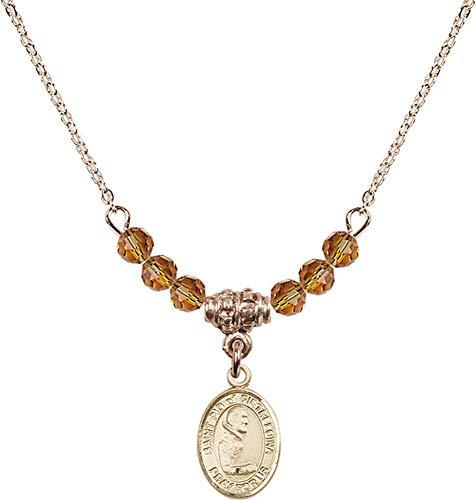 Bonyak Jewelry 18 Inch Hamilton Gold Plated Necklace w/ 4mm Yellow November Birth Month Stone Beads and Saint Pio of Pietrelcina ()