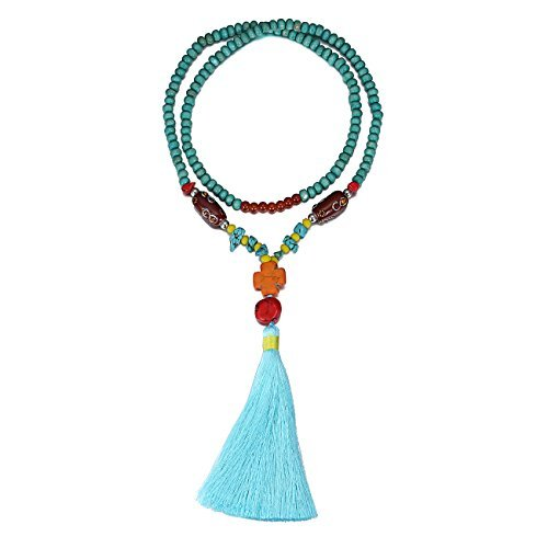 eManco Statement Tassel Long Pendant Necklaces for Women Handmade Wood Bead Bohemian Jewelry Blue