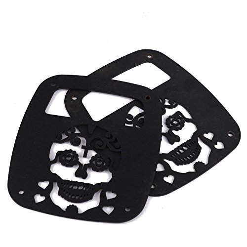 POWLAB 2Pcs Black Exterior Rear Tail Light Guard Cover Protect Shade Skull Skeleton Shape Hollow Out For Jeep Wrangler 1987-2006 TJ YJ