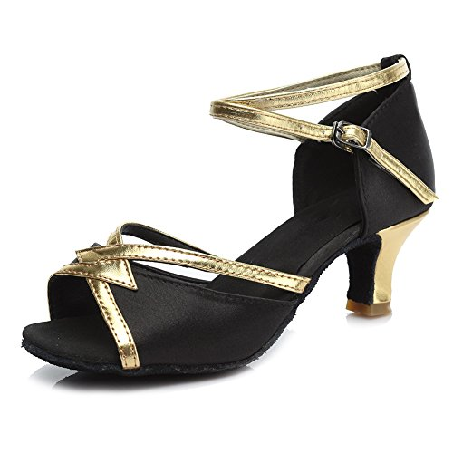 HROYL Womens Latin/Chacha/Samba/Jazz/Modern Dance Shoes Satin Ballroom 225 5cm Black 1tylLF