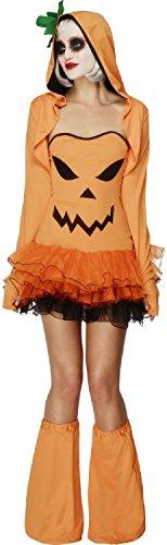 Ladies Sexy Pumpkin Tutu Halloween Horror Jack O Lantern Carnival Fancy Dress Costume Outfit UK Size 4-18 (UK 12-14) -