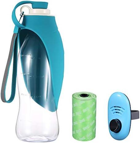 ORIA Botella de agua para perro, botella portátil de agua para mascotas, botella de agua para mascotas, 20 onzas con dispensador de bolsas de residuos para perros, botellas de agua para viajes, caminar 2