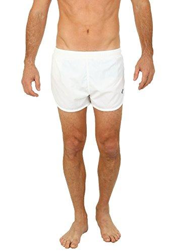 Men's Basic Running Shorts Swimwear Trunks By UZZI: WHITE (White Mens Running Shorts)